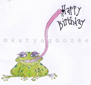 Cheeky Frog Birthday Card 2013 - acrylic, coloured pencils & fineliner
